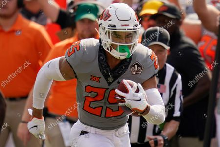 Oklahoma State safety Jason Taylor II (25) during an NCAA college football game against Tulsa, in Stillwater, Okla