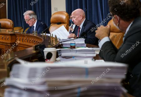 House Ways and Means Committee Chairman Richard Neal, D-Mass., left, and Rep. Kevin Brady, R-Texas, the ranking member, center right, make opening statements as the tax-writing panel continues work on the Democrats' sweeping proposal for tax hikes on big corporations and the wealthy to fund President Joe Biden's $3.5 trillion domestic rebuilding plan, at the Capitol in Washington