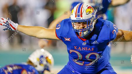 Kansas fullback Ben Miles in action against Coastal Carolina during an NCAA college football game in Conway, S.C