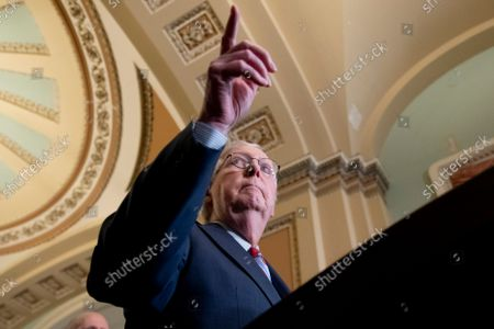 Senate Minority Leader Mitch McConnell participates in a news conference on Capitol Hill in Washington, DC, USA, 14 September 2021. Senate Republicans criticized the Biden administration's handling of the US withdrawal from Afghanistan.