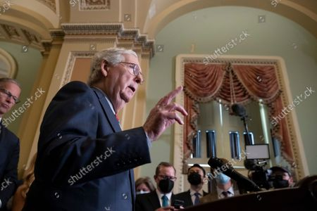 Stock Image of Senate Minority Leader Mitch McConnell participates in a news conference on Capitol Hill in Washington, DC, USA, 14 September 2021. Senate Republicans criticized the Biden administration's handling of the US withdrawal from Afghanistan.