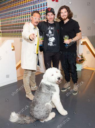 Stock Image of Jonny Yeo, Philip Colbert &Joe Kennedy with Rafa (dog)