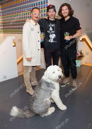 Jonny Yeo, Philip Colbert &Joe Kennedy with Rafa (dog)