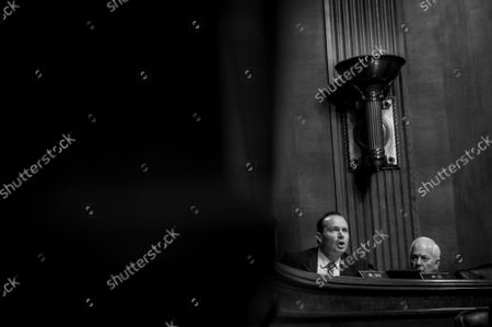 Stock Photo of United States Senator Mike Lee (Republican of Utah) is relentless during intense and emotional questioning of Jennifer Sung as she appears before a Senate Committee on the Judiciary for her nomination hearing to be United States Circuit Judge for the Ninth Circuit, in the Dirksen Senate Office Building in Washington, DC, Tuesday, September 14, 2021.