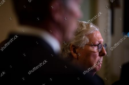 United States Senate Minority Leader Mitch McConnell (Republican of Kentucky) attends a press conference following the Senate Republican's policy luncheon at the US Capitol in Washington, DC, Tuesday, September 14, 2021.