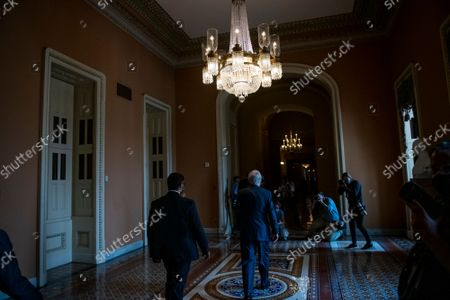 United States Senate Minority Leader Mitch McConnell (Republican of Kentucky) walks to his office following a press conference following the Senate Republican's policy luncheon at the US Capitol in Washington, DC, Tuesday, September 14, 2021.