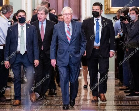 Senate Minority Leader Mitch McConnell (R-KY) arrives for a press conference of the Senate Republican caucus leadership.