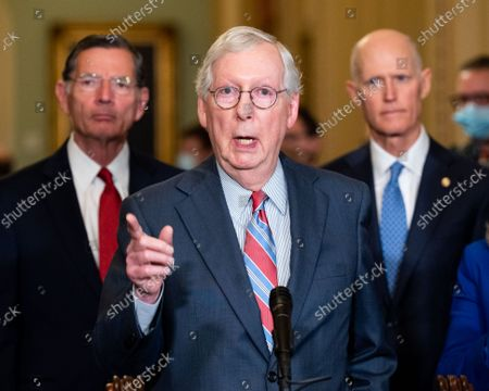 Senate Minority Leader Mitch McConnell (R-KY) speaks at a press conference of the Senate Republican caucus leadership.