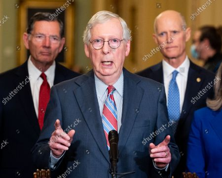 Stock Picture of Senate Minority Leader Mitch McConnell (R-KY) speaks at a press conference of the Senate Republican caucus leadership.