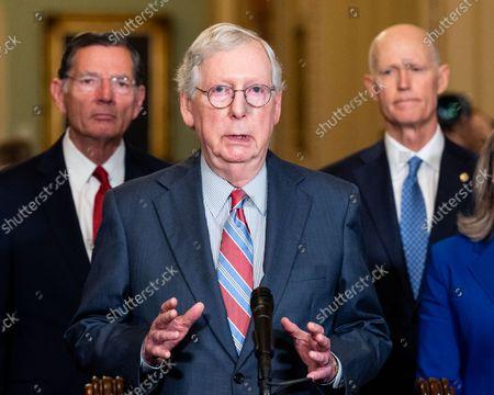 Editorial image of Senate Caucus Leadership Press Conferences in Washington, US - 14 Sept 2021