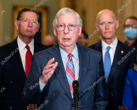 Editorial photo of Senate Caucus Leadership Press Conferences in Washington, US - 14 Sept 2021