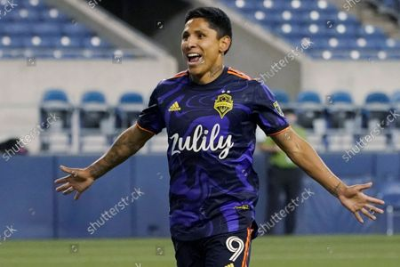Seattle Sounders forward Raul Ruidiaz celebrates after he scored a goal against Santos Laguna during the second half of a Leagues Cup soccer semifinal, in Seattle. The Sounders won 1-0