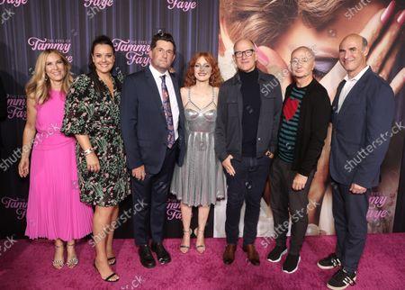 Rachel Shane, from left, Kelly Carmichael, Michael Showalter, Jessica Chastain, Randy Barbato, Fenton Bailey and Searchlight Pictures president Matthew Greenfield