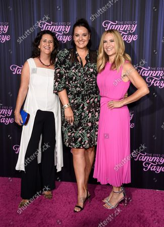 """Producers Gigi Pritzker, left, Kelly Carmichael and Rachel Shane attend the premiere of """"The Eyes of Tammy Faye"""" at the SVA Theatre, in New York"""
