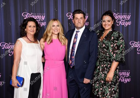 """Stock Photo of Director Michael Showalter, center, poses with producers Gigi Pritzker, Rachel Shane, and Kelly Carmichael at the premiere of """"The Eyes of Tammy Faye"""" at the SVA Theatre, in New York"""