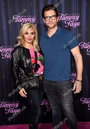 """Stock Picture of Singer Orfeh and husband actor Andy Karl attend the premiere of """"The Eyes of Tammy Faye"""" at the SVA Theatre, in New York"""