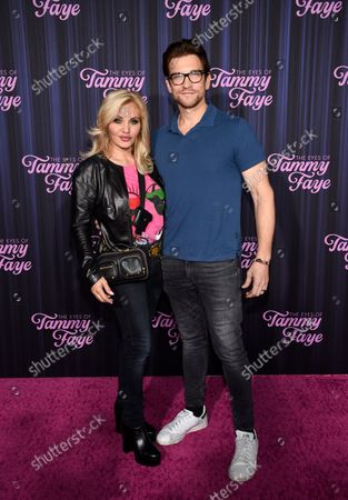 """Singer Orfeh and husband actor Andy Karl attend the premiere of """"The Eyes of Tammy Faye"""" at the SVA Theatre, in New York"""