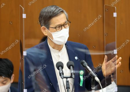 Shigeru Omi, Japan Community Health Care Organization president and a member of the government panel for COVID-19  answers a question at Lower House's health, labor and welfare committee session at the National Diet in Tokyo on Wednesiday, September 15, 2021.