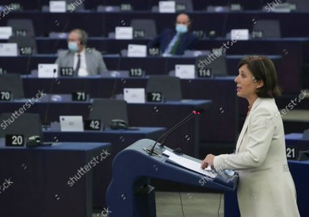 European Commissioner for Values and Transparency Vera Jourova addresses the European Parliament plenary session in Strasbourg, France, 15 September 2021.