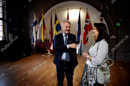 Foreign minister of Finland Pekka Haavisto (L) and Foreign minister of Sweden Ann Linde during the Nordic countries and Baltic states, the Nordic-Baltic Eight NB8 group, meeting at the Vanajalinna castle in Hämeenlinna, Finland on September 15, 2021. Ministers will discuss of the situation in Afghanistan and topical UN and OSCE questions.