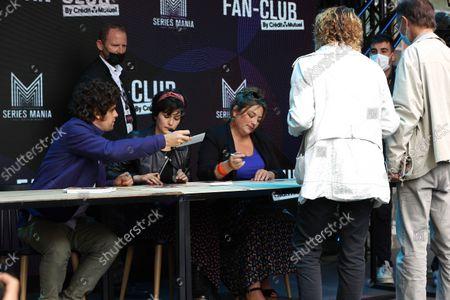 Arthur Dupont, Chloe Chaudoye, Emilie Gavois-Kahn await during the Fan Club of Series Mania Festival, in Lille, France, on September 01, 2021.