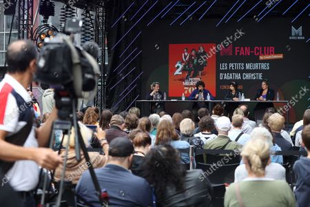 Stock Image of Arthur Dupont, Chloe Chaudoye, Emilie Gavois-Kahn is waiting for the Fan Club of Series Mania Festival, in Lille, France, on September 01, 2021.