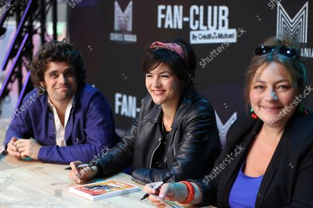 Arthur Dupont, Chloe Chaudoye, Emilie Gavois-Kahn poses during the Fan Club of Series Mania Festival, in Lille, France, on September 01, 2021.