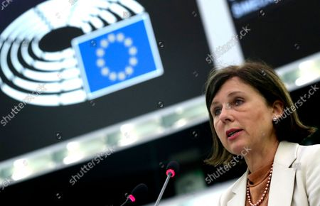 European Commissioner for Values and Transparency Vera Jourova speaks during a plenary session at the European Parliament in Strasbourg, France