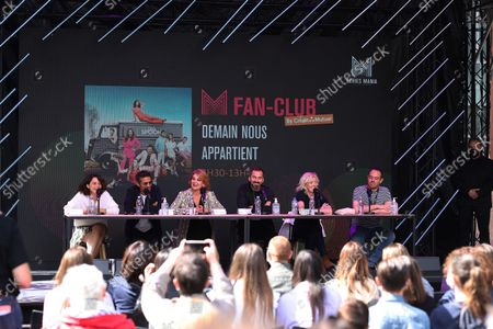 Stock Image of Honorine Magnier, Kamel Belghazi, Ariane Sguillon, Franck Monsigny, Luce Mouchel is waiting for the Fan Club of Series Mania Festival, in Lille, France, on August 27, 2021.