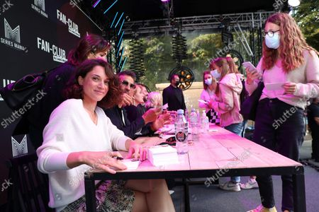Honorine Magnier, Kamel Belghazi, Ariane Sguillon, Franck Monsigny, Luce Mouchel is waiting for the Fan Club of Series Mania Festival, in Lille, France, on August 27, 2021.