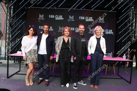 Honorine Magnier, Kamel Belghazi, Ariane Sguillon, Franck Monsigny, Luce Mouchel poses during the Fan Club of Series Mania Festival, in Lille, France, on August 27, 2021.