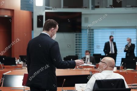 Jens Spahn (left), Federal Minister for Health, and Peter Altmaier (right), Federal Minister for Economic Affairs and Energy, at the beginning of the weekly government cabinet meeting on September 15, 2021 in Berlin, Germany. Germany is scheduled to hold parliamentary elections on September 26 that will make way for the creation of a new government and the Appointment of a New Chancellor.