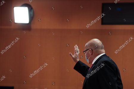 Stock Picture of Peter Altmaier, Federal Minister for Economic Affairs and Energy, waves at the beginning of the weekly government cabinet meeting on September 15, 2021 in Berlin, Germany. Germany is scheduled to hold parliamentary elections on September 26 that will make way for the creation of a new government and the Appointment of a New Chancellor.