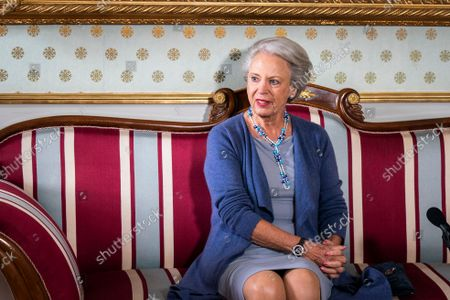 Princess Benedikte of Denmark addresses a press conference on the performance 'Palaeerne Danser - Dances in the Mansions' at Amalienborg in Copenhagen, Denmark, 15 September 2021. In 2022, the Queen Ingrid's Honorary Scholarship will be awarded for the tenth and final time. To mark this, the Danish Queen, together with her sisters Princess Benedikte and Queen Anne-Marie of Greece, has decided to use Amalienborg's four mansions for a TV broadcast party performance in ballet and music. 'Palaeerne Danser' will consist of four ballet pieces adapted to the four Great Halls'.
