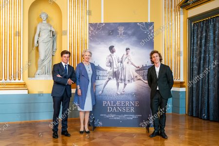 Princess Benedikte of Denmark (C), Danish soloist Tobias Praetorius (R) and board member of the Queen Ingrid's Honorary Scholarship, Lars Liebst (L) address a press conference on the performance 'Palaeerne Danser - Dances in the Mansions' at Amalienborg in Copenhagen, Denmark, 15 September 2021. In 2022, the Queen Ingrid's Honorary Scholarship will be awarded for the tenth and final time. To mark this, the Danish Queen, together with her sisters Princess Benedikte and Queen Anne-Marie of Greece, has decided to use Amalienborg's four mansions for a TV broadcast party performance in ballet and music. 'Palaeerne Danser' will consist of four ballet pieces adapted to the four Great Halls'.