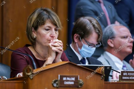 """Rep. Cathy McMorris Rodgers, R-Wash., the ranking member of the House Energy and Commerce Committee, listens during votes on amendments as during work on the """"Build Back Better"""" package, cornerstone of President Joe Biden's domestic agenda, at the Capitol in Washington"""