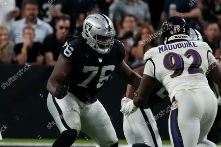 Stock Picture of Las Vegas Raiders offensive guard John Simpson (76) during an NFL football game against the Baltimore Ravens, in Las Vegas