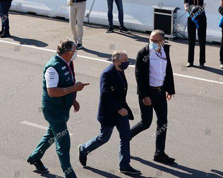 Stock Photo of  FIA President Jean Todt, Formal 1 Chef Stefano Domenicalli, Teamchef Otmar Szafnauer (Aston Martin Cognizant Formula One Team)