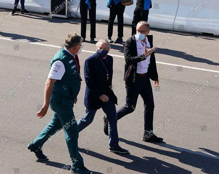 Stock Picture of  FIA President Jean Todt, Formal 1 Chef Stefano Domenicalli, Teamchef Otmar Szafnauer (Aston Martin Cognizant Formula One Team)