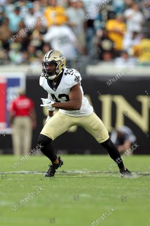 New Orleans Saints free safety Marcus Williams (43) during an NFL football game against the Green Bay Packers, in Jacksonville