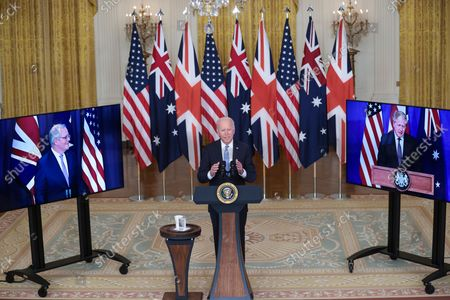 President Joe Biden delivers remarks about a national security initiative on September 15, 2021 in the East Room of the White House in Washington, DC. President Biden is joined virtually by Prime Minister Scott Morrison of Australia and Prime Minister Boris Johnson of the United Kingdom