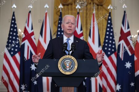 President Joe Biden delivers remarks about a national security initiative on September 15, 2021 in the East Room of the White House in Washington, DC. President Biden is joined virtually by Prime Minister Scott Morrison of Australia and Prime Minister Boris Johnson of the United Kingdom.