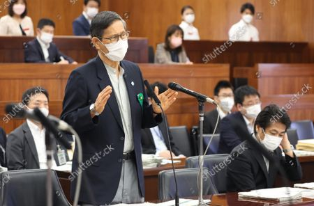 Stock Image of Shigeru Omi, Japan Community Health Care Organization president and a member of the government panel for COVID-19  answers a question at Upper House's health, labor and welfare committee session at the National Diet in Tokyo on Thursiday, September 16, 2021.