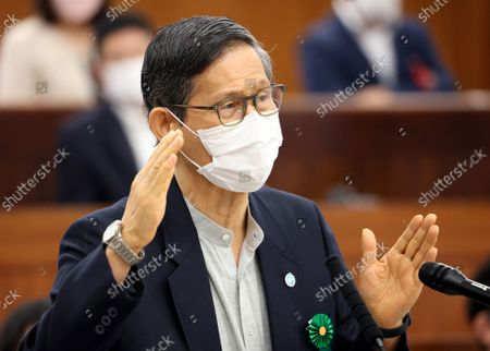 Stock Picture of Shigeru Omi, Japan Community Health Care Organization president and a member of the government panel for COVID-19  answers a question at Upper House's health, labor and welfare committee session at the National Diet in Tokyo on Thursiday, September 16, 2021.