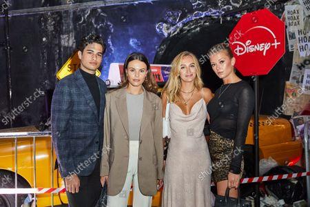 Robbie Mullett, Emily Blackwell, Tiffany Watson and Olivia Bentley attend an immersive screening of Disney+ Original Series, Y: The Last Man, at The Vaults, Waterloo