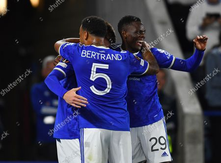 Harvey Barnes of Leicester City celebrates with Ryan Bertrand and Patson Daka after scoring his side's second goal