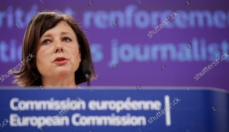 European Commission Vice President for Values and Transparency Vera Jourova holds a press conference on the 'recommendation on ensuring safety of journalists in the European Union,' in Brussels, Belgium, 16 September 2021.