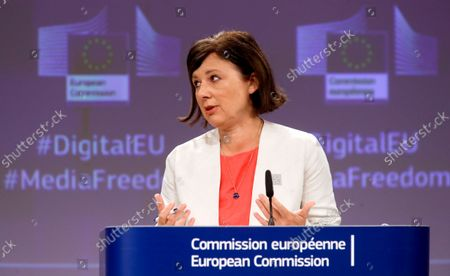 Editorial picture of EU Commission's presser on recommendation on ensuring safety of journalists, Brussels, Belgium - 16 Sep 2021