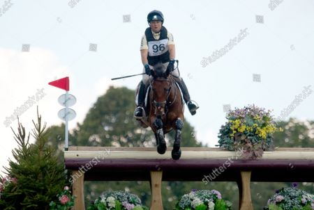 Stock Image of Pippa Funnell MBE riding Maybach during the cross country test at the Blenheim Palace International Horse Trials
