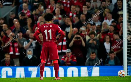 Mohamed Salah of Liverpool prepares to take penalty and misses